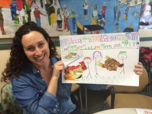 "Program Coordinator Alex Neidenberg showcasing her ""Dream Board,"" that includes a farm fresh stand for the Tenderloin neighborhood to enjoy!"