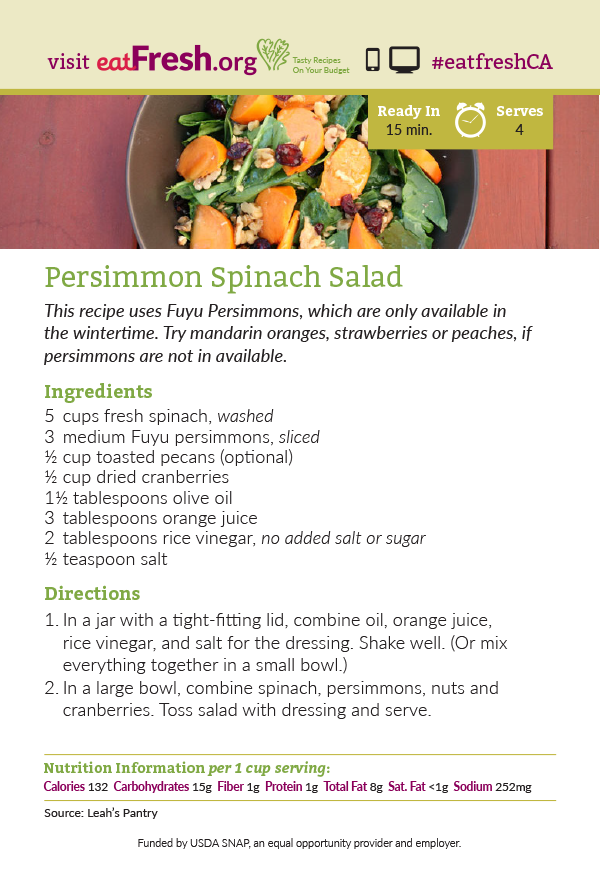 Persimmon Spinach Salad Recipe Card Leah S Pantry